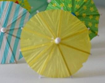 10 yellow umbrella cocktail toppers, drink umbrella, wedding decoration, paper ice-cream decoration, easter decor