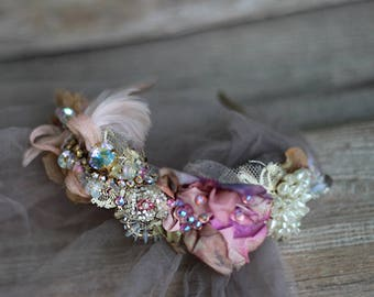 Muse headband,  embroidered and beaded headband with vintage and antique textiles