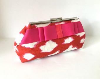 Leopard print clutch, bow clutch, pink red clutch, preppy clutch, linen clutch in Kate Spade home interior fabric, one of a kind