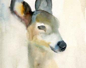 Deer  Original watercolor painting 8x10inch