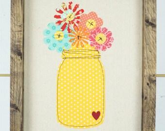 wall art. wall hanging. floral decor. ball jar art. fabric flowers. framed art. framed textile. floral print. girl nursery decor. girls room