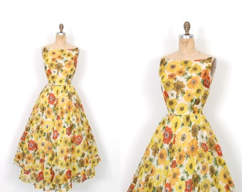 Vintage 1950s Dress / 50s Floral Print Cotton Voile Dress / Yellow and Orange ( small S )