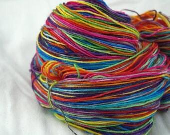 Merino Superwash Sock Yarn, Self-Stripping, Rainbow Brite, Hand Dyed