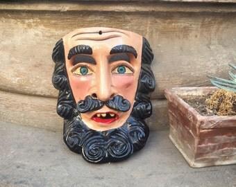 Carved Wood Wall Art Mask Art Mexican Folk Art Mask, Mexican Mask, Mexican Decor, Boho Style
