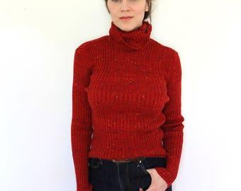 Vintage Turtleneck Sweater / 1970s Sweater / 70s 80s Sweater / Red Sweater / 1970s Red Turtleneck Sweater