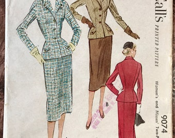 McCall's 1952 Misses' 2-Piece Suit Pattern #  9074 - Curve-Hugging Fitted Jacket, Pencil Skirt - Size 16 Bust 34
