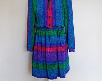 Vintage 1980s Rainbow Shirt Dress with Black Paisley Print and Black Ribbon Tie by KC Petite, Chest  38 , Waist 32 , US Size 10, UK Size 12