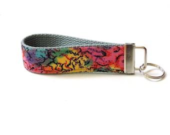 Fabric key fob wristlet, colorful batik, wrist key holder, key fob, silver key chain, womens key fob, key lanyard, webbing key ring holder
