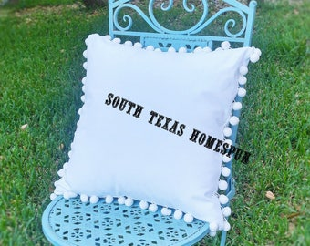 New, Pom Pom fabulous blanks! White Canvas Pillow Cover blanks with Envelope Back 16x16 or 18x18