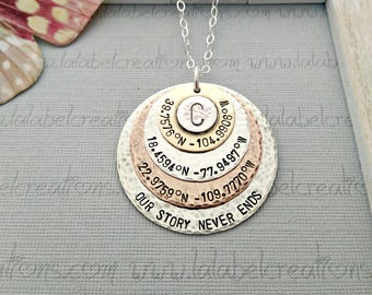 Latitude Longitude Necklace, Personalized Necklace, Coordinates Necklace, Hand Stamped Jewelry, GPS Coordinates Jewelry, Mothers Day Gift