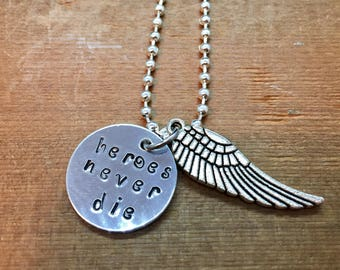 Mercy Overwatch Inspired Hand Stamped Pendant