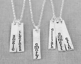 Mothers Necklace / Kids Names, Vertical Bar Necklace, Vertical Name Plate Sterling Silver, For Mom