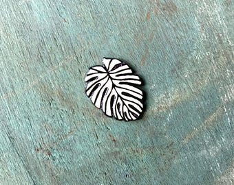 Tropical Palm Leaf Lapel Pin Pinback Button Hand Drawn Black and White Botanical Brooch