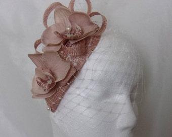 Nude Latte & Ivory Veil Sinamay Loop Orchid Flower and Pearl Teardrop Charlotte Vintage Style Wedding Fascinator Mini Hat - Made to Order
