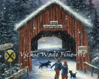 Snow Covered Bridge ORIGINAL Painting snowscene two children black dogs paintings winter snow Oregon Chitwood covered bridge Vickie Wade Art