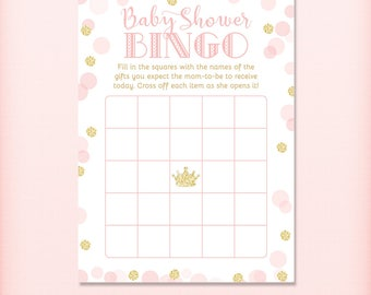 Princess Baby Shower Bingo Game Card, Royal Pink and Gold Glitter Baby Shower Game - PRINTABLE INSTANT DOWNLOAD