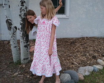 NIGHTGOWN-Size 8-Girls //100% Cotton-Knit //Pink Cherry Blossoms-Full Length, Eyelet Trim//Ready to Ship //Visit shop--other available sizes