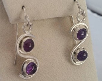 Hand Fabricated Sterling Silver and Amethyst Earrings