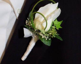 Boutonniere - White Silk Rose Flower Boutonniere - Floral Boutonniere - Prom Boutonniere
