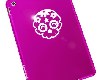 "Sugar Skull Decal / Day of the Dead Laptop Sticker / Rockabilly Sugar Skull Decal / Dia de los Muertos Sticker / 3.5""h x 3.25""w / #986"