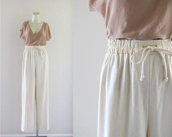 raw silk ivory trousers