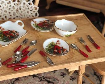 Miniature Silverware Set, Red Handle Silverware Set, 12 Piece Set, Dollhouse Miniature, 1:12 Scale, Mini Utensils, Dollhouse Accessory
