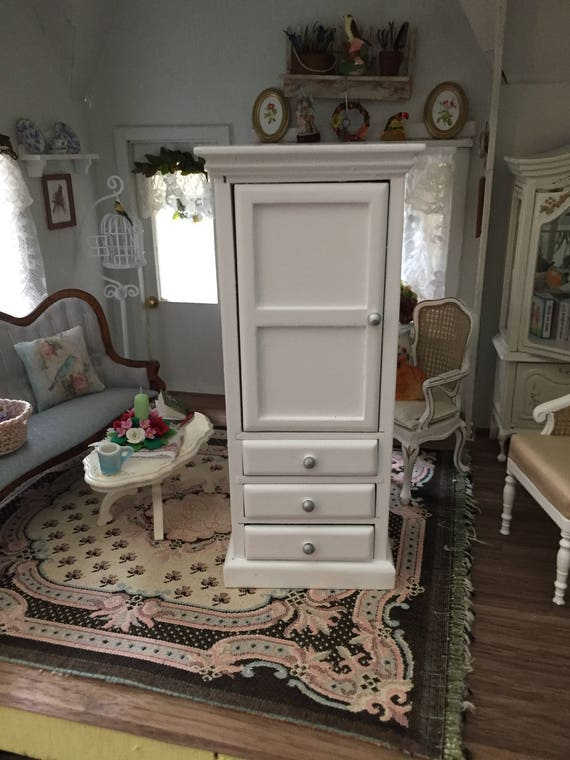 Miniature White Cabinet with Drawers and Shelves, Dollhouse Miniature Furniture, 1:12 Scale, Mini Wood Cupboard with Door & Drawers