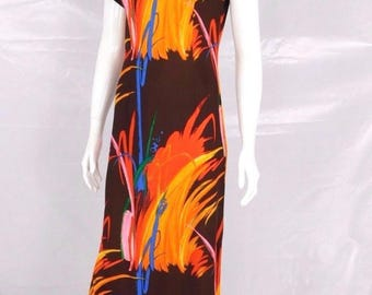 Sun Fashions of Hawaii 1960's Vintage Painterly Asian Dress - Size S