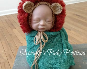 Crochet Leo the Lion Bonnet, Newborn, Baby Boy or Girl, Photo Prop, Photography Prop, Baby Shower Gift, Lion Hat, Zoo Animal