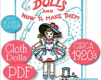1920s Dolls and How to Make Them -Cloth Rag Soft Doll - Sweetest Vintage E-Pattern PDF Download