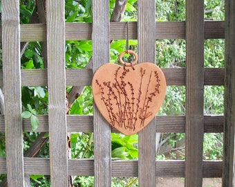 Ceramic Heart-Shaped Wall Plaque - Using Impressed Real Plants - Clay Wall Hanging - Wall Decoration - Garden Decor - Plant Lover Gift