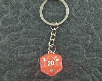 Orange Keychain, D20 keychain, Dice Keychain, Dungeons n Dragons Keychain, Pathfinder, Dungeouns and Dragons Keychain