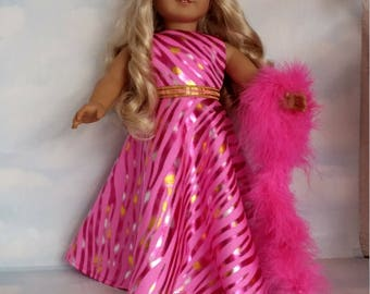 18 inch doll clothes - #243 Bright Pink Metallic Gown handmade to fit the American girl doll - FREE SHIPPING