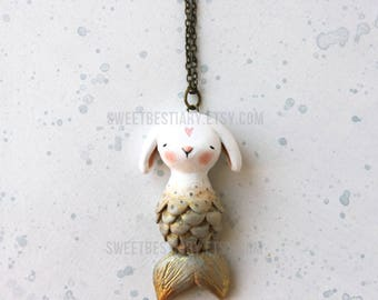 Bunny mermaid  necklace- Clay miniature - Wimshical wearable art