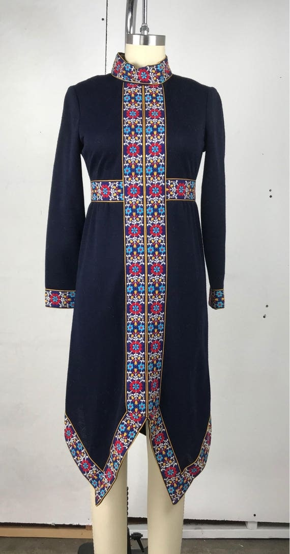 60s Embroidered Trim Winter Dress