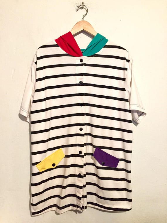 90s Vintage Striped and Color-block Button Up Hoodie