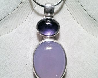 Blue Chalcedony - Iolite Sterling Silver Pendant