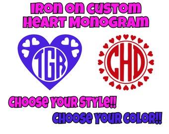Iron On Custom Heart Monogram, Heart Monogram, Iron On Transfer, Custom Monogram, DIY Monogram, Monogram Do It Yourself