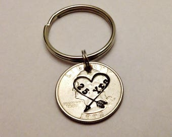 25 Year Anniversary Keychain: 25th Wedding Gift for Him Her Couple Husband Wife Men Parents, Stamped 1993 + US Quarter, Silver, Heart Arrow