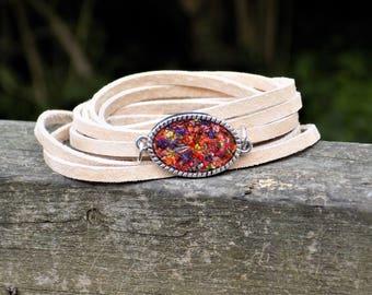 Leather Wrap Bracelet, Real Flowers, Flower Jewelry, Suede, Accessory, Women, Boho, Bohemian style, Fashion Jewelry, Resin, Floral, Hippie