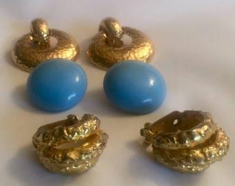 Vintage Clip Earrings 3 Pair 1970s 1980s Blue Coro Gold Tone Hoops Wear Craft Supply Repurpose Recycle Destash Wholesale Retail Lot Costume