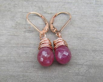 Pink Sapphire Earrings,  Rose Gold Filled,  September Birthstone Jewelry,  Pink Dangle Earrings,  Hand Wire Wrapped