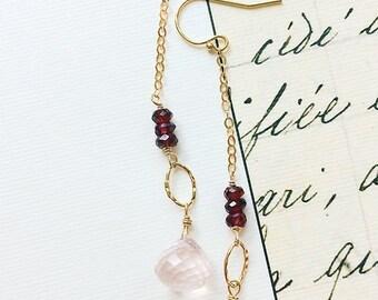 Rose Quartz Earrings, Pink Earrings, Gemstone Earrings, Dangle Earrings