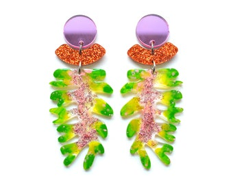 Laser Cut Earrings Acrylic Earring Statement Earrings Green Earring Leaf Earrings Resin Earrings Plant Earrings Glitter Earrings