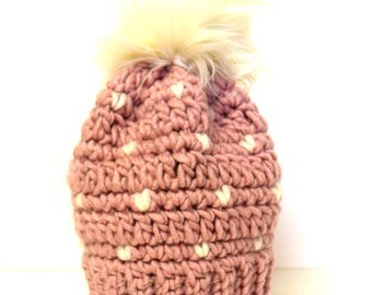 Little Heart Beanie In Pink and White Snowflakes with Faux Fur Pom Pom, Wool, MMIM, Handmade, Crochet, , Kids, Baby, Small, Nordic baby