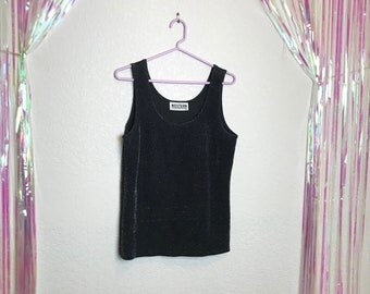 Vintage 1990s Black and Silver Super Sparkly Tank Top