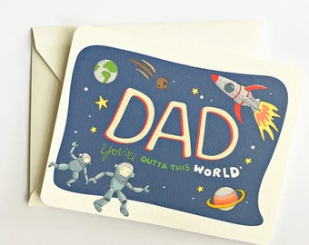 Father's Day Card - First Father's Day - Space Theme - Card for Dad - Dad Card - Card for Daddy - 1st Fathers Day Card
