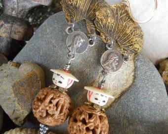 Little Flower Girl                  Asian Carved Nut Earrings