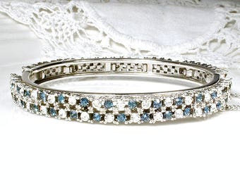 Vintage Sapphire Bracelet, Art Deco Clear & Blue Rhinestone Clamper/Hinged/Bangle Bridal, Silver Navy Wedding Jewelry Something Blue Old