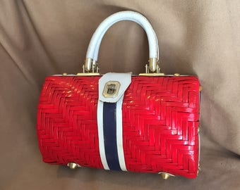 Vintage 60's Red White and Blue Handbag, Woven Purse with Top Handles, 50's Retro Summer Purse, 50's Rockabilly Style
